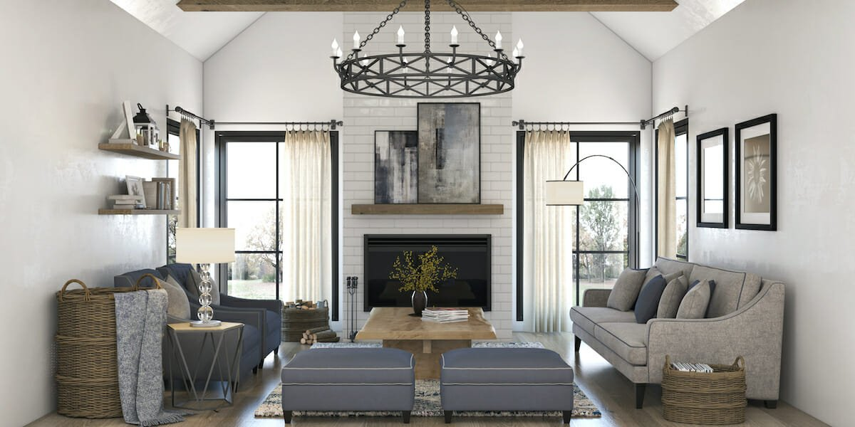Blue Accented modern farmhouse living room decor