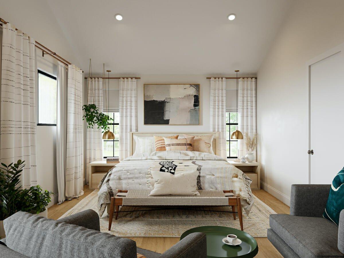 Bohemian bedroom by Decorilla online interior designer Courtney B