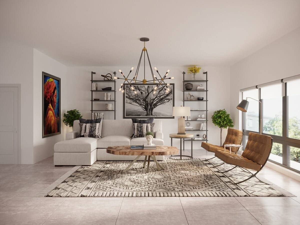 Boho living room with eclectic living room decoration