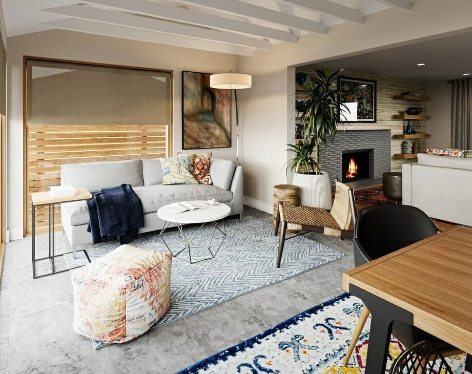 Casual eclectic living room next to a dining area