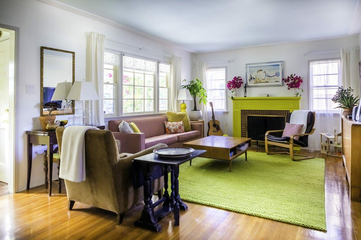 Colorful eclectic living room decor by Decorilla interior designer, Heather P.