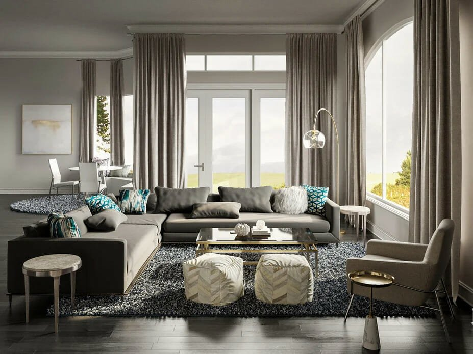 Combined Living & Dining Glam Room Decor by Decorilla designer Tera S