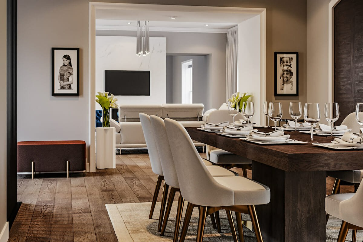Contemporary house interior - open living dining