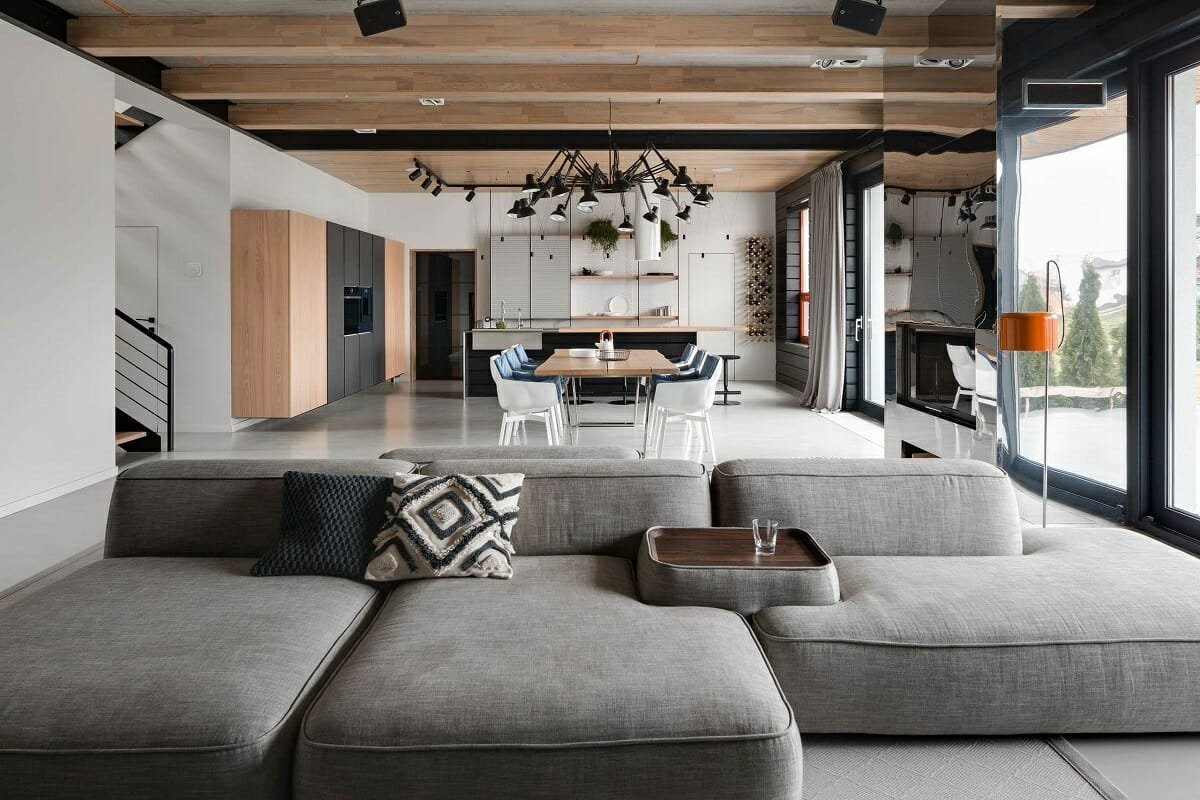 Contemporary kitchen and living room addition