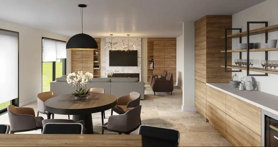 Contemporary living room furniture for a living and dining room