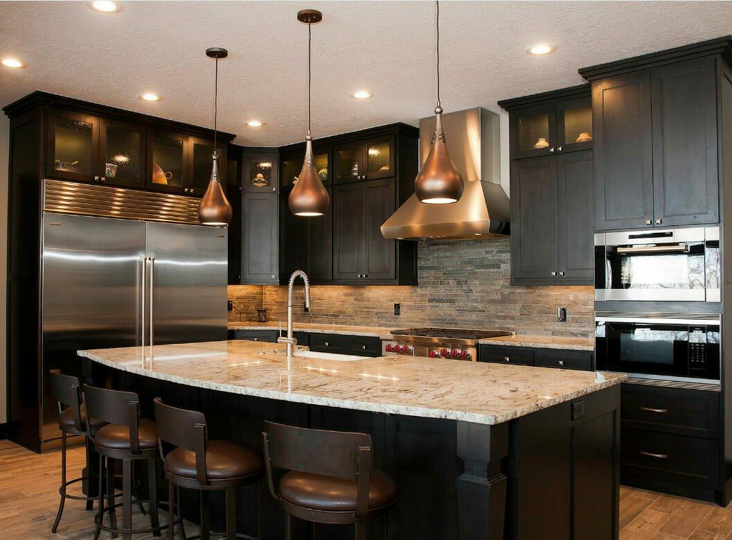 Dark and bold kitchen by top interior decorators salt lake city