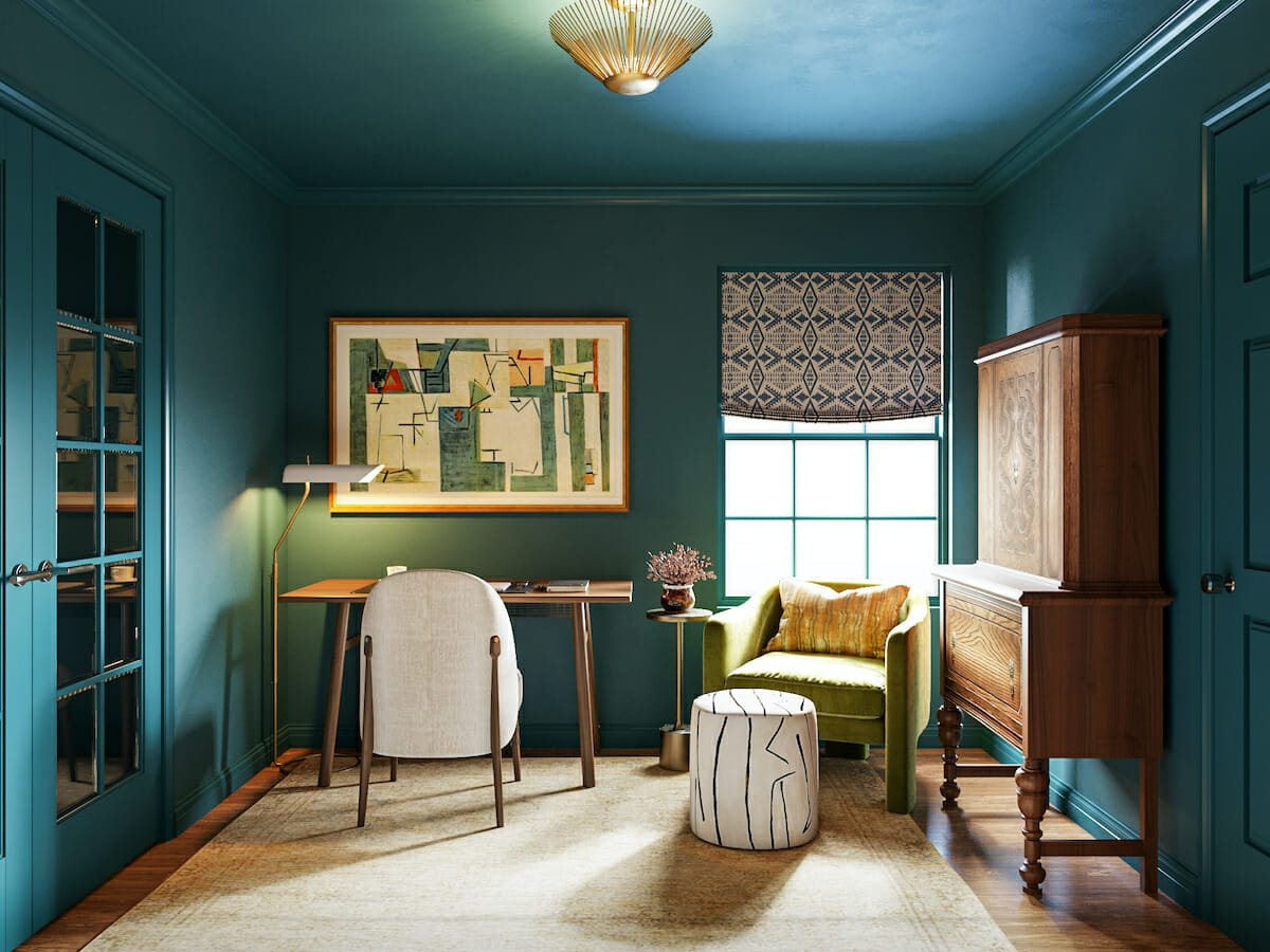 Eclectic decor style for a bold home office by Decorilla designer, Erin R.
