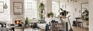 Eclectic interior with an open plan living and dining room