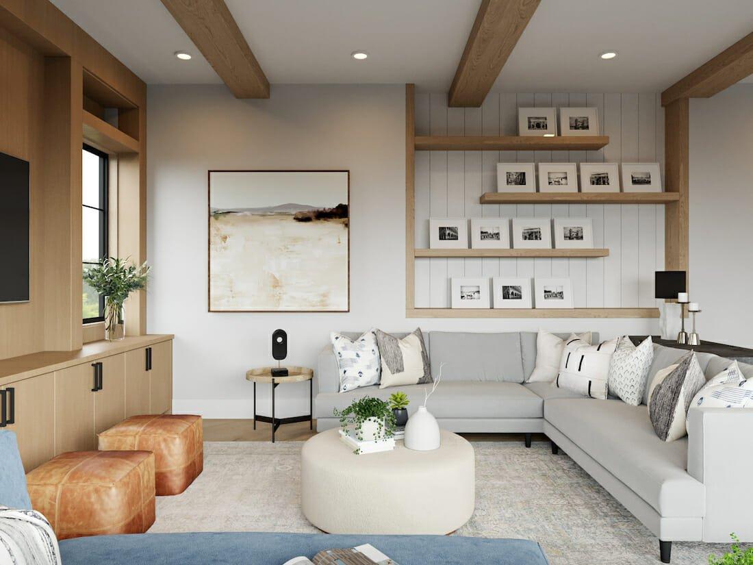 Family living room by Decorilla online interior designer, Courtney B.