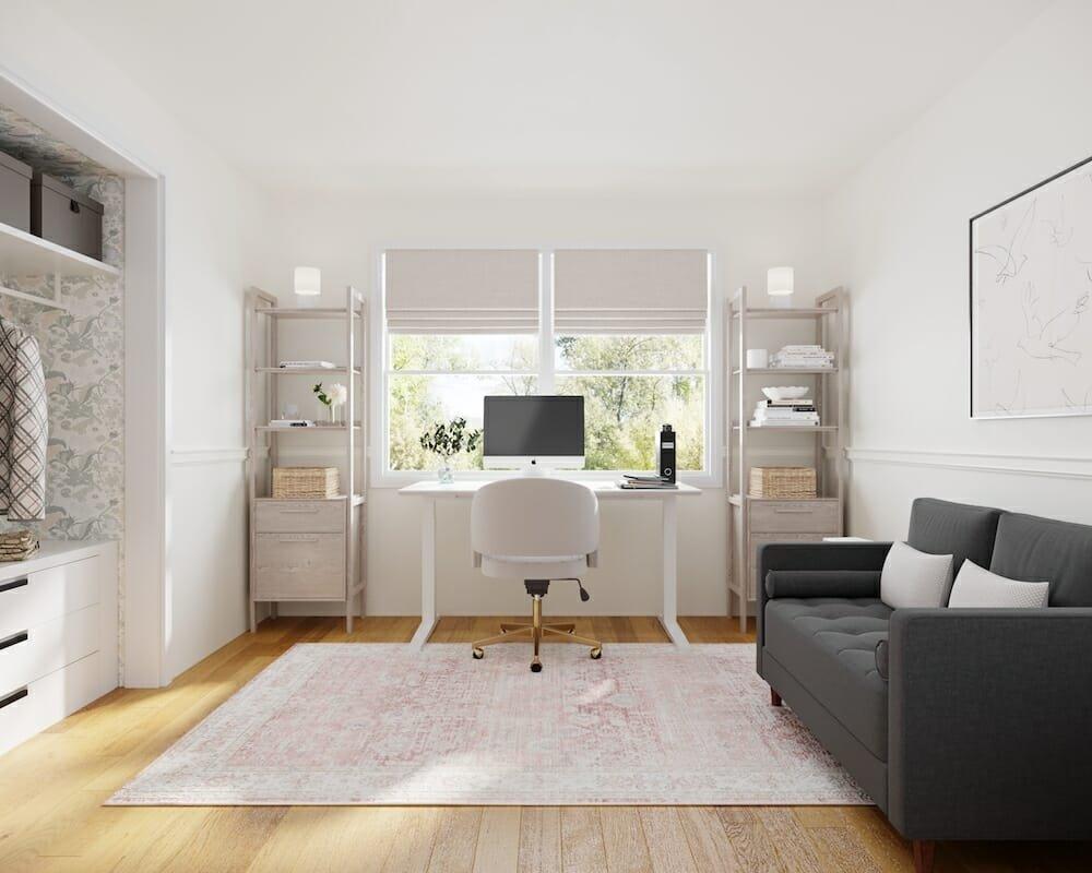 Feminine home office by Decorilla online interior designer Courtney B.