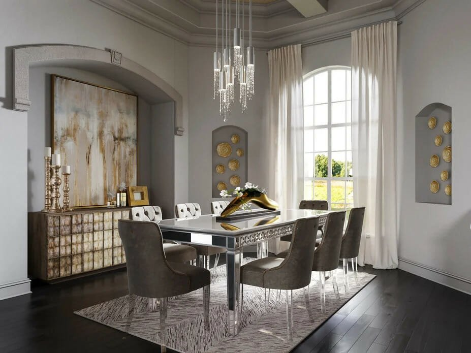 Glam Decor Style for Dining Room by Decorilla designer Tera S