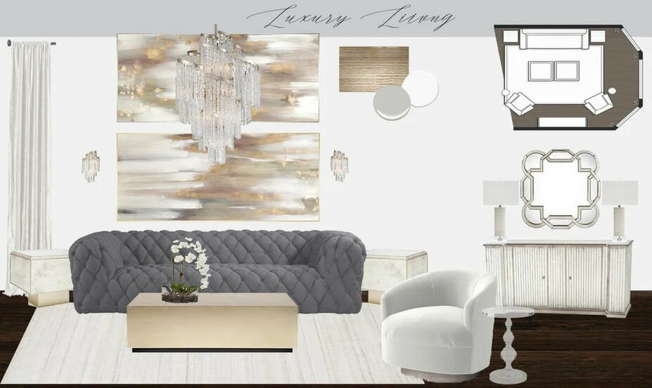 Glam Interior Design Living Room Concept by Tera S