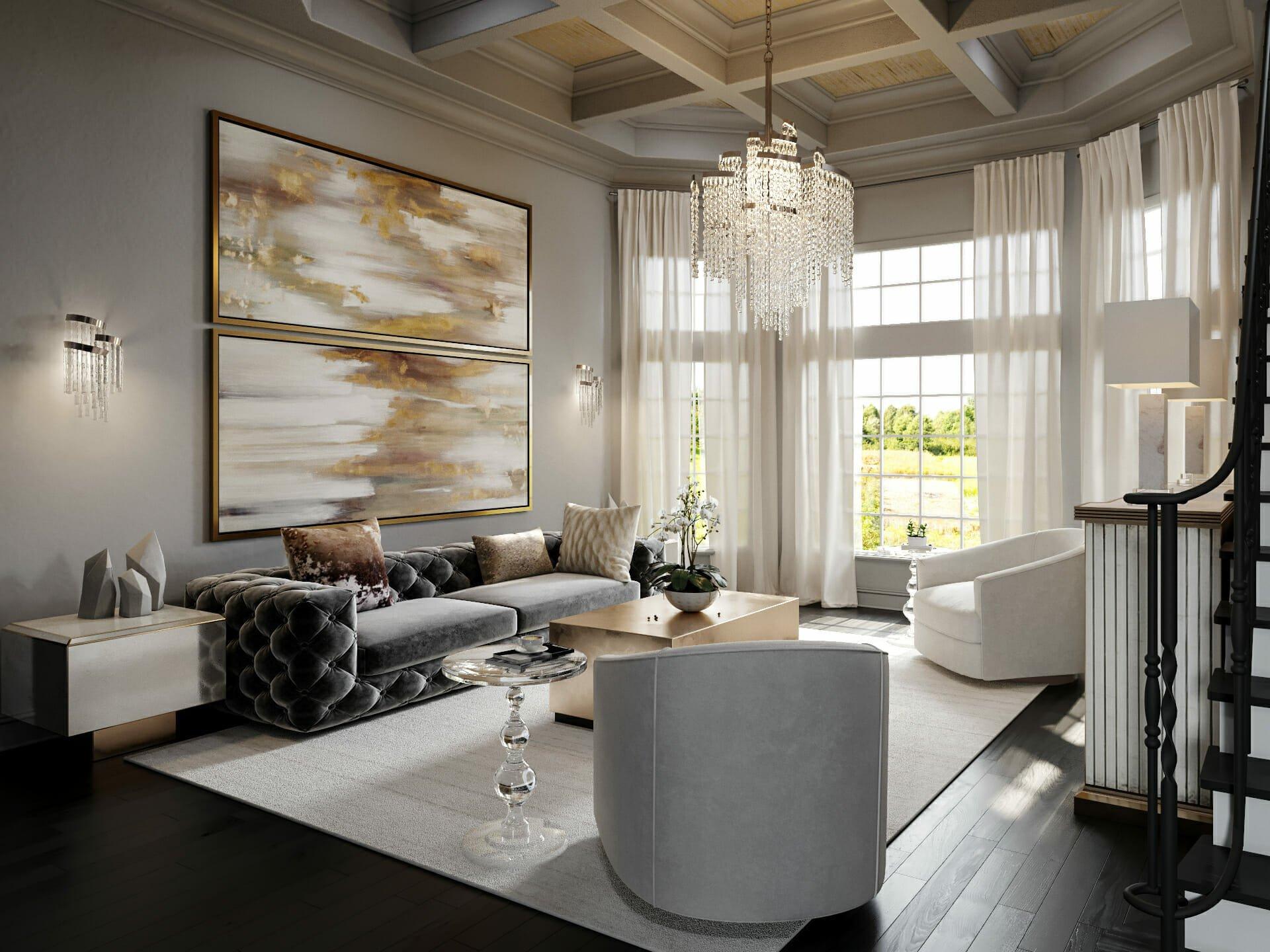 Glam Style Living Room by Decorilla designer Tera S