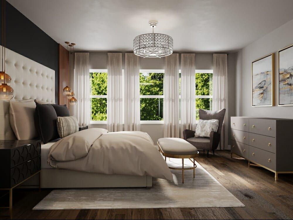 Glam master bedroom by Decorilla designer Courtney B.