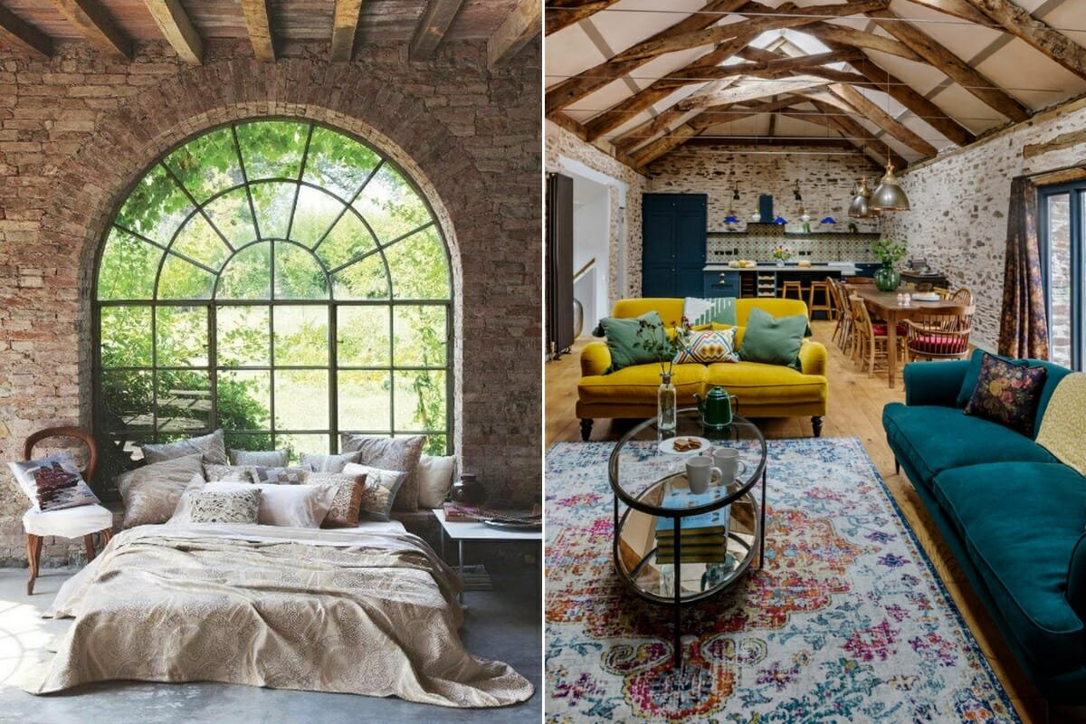 Industrial chic decor in a small barn open concept lounge and kitchen and bedroom