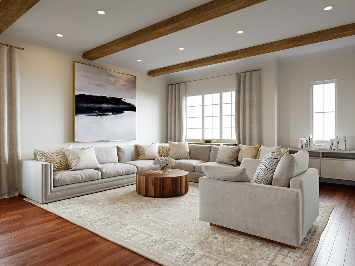 Luxe lounge by Decorilla online interior decorator, Courtney B.