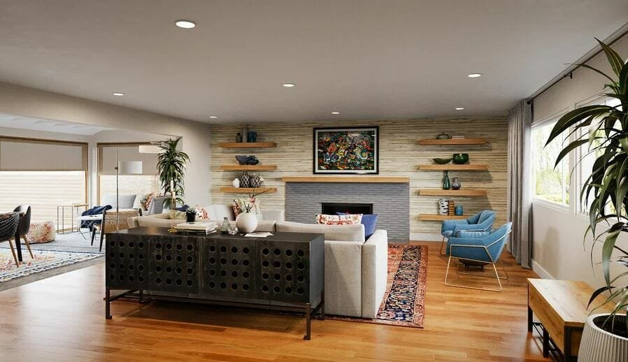 Mid-century eclectic living room