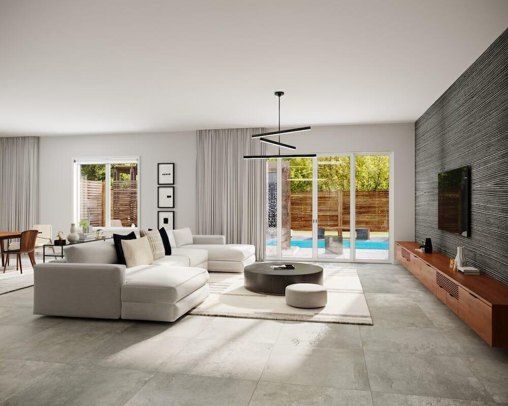 Minimal & modern living room online interior design