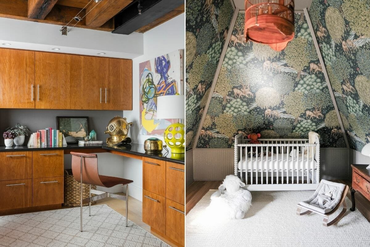 Modern eclectic decor in a study and nursery
