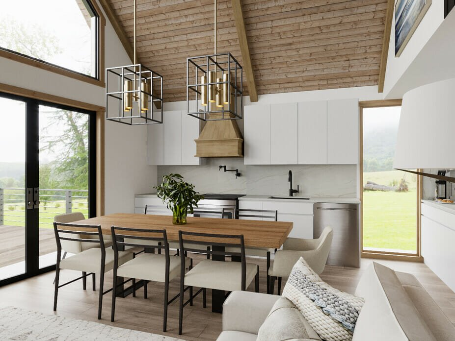 Modern farmhouse kitchen decor with vaulted ceilings by berkeley h