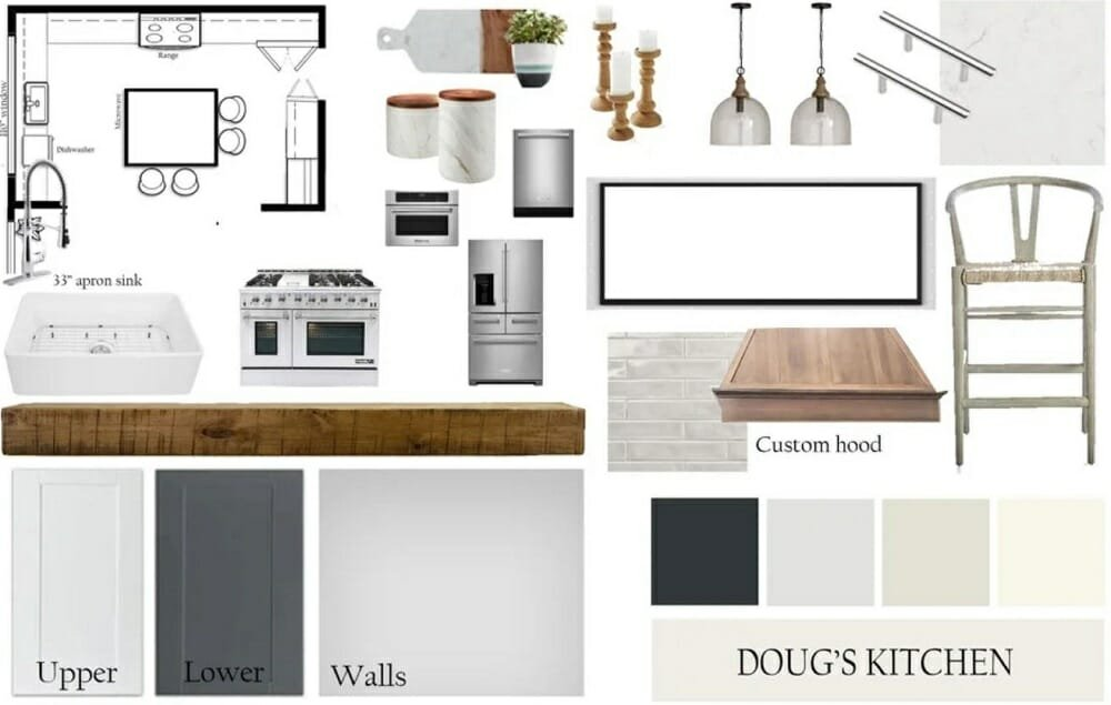 Mood board for a modern rustic kitchen