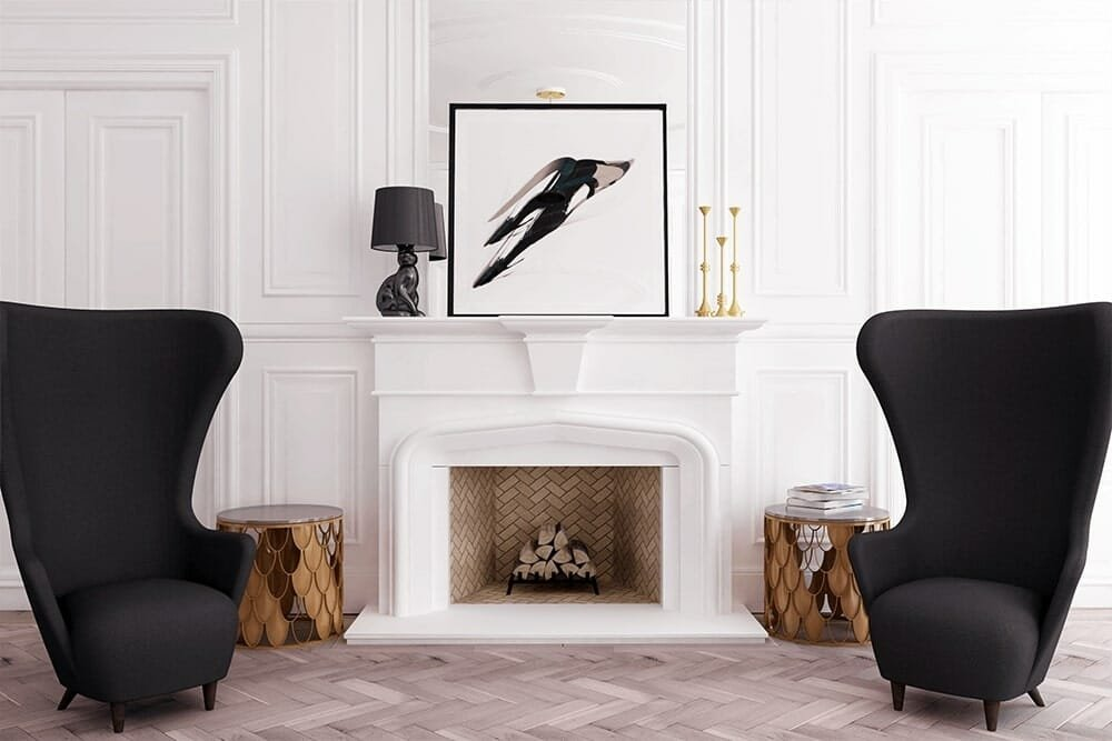 Parisian chic living room arrangements with a fireplace