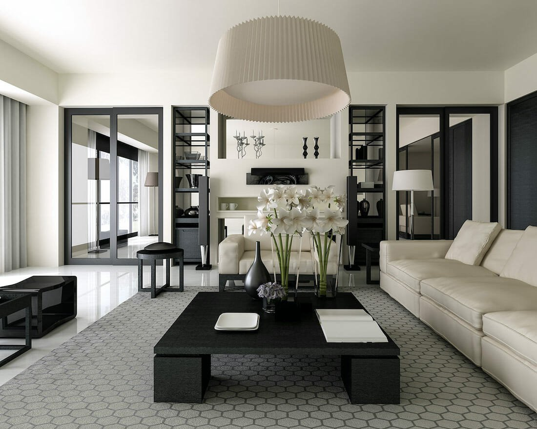 Rectangular living room layouts with black and white color scheme