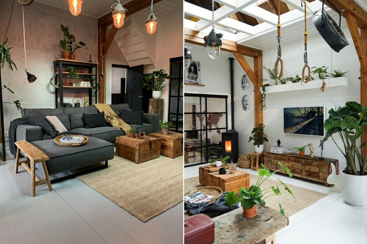 Rustic industrial decor in a contemporary dining and living room