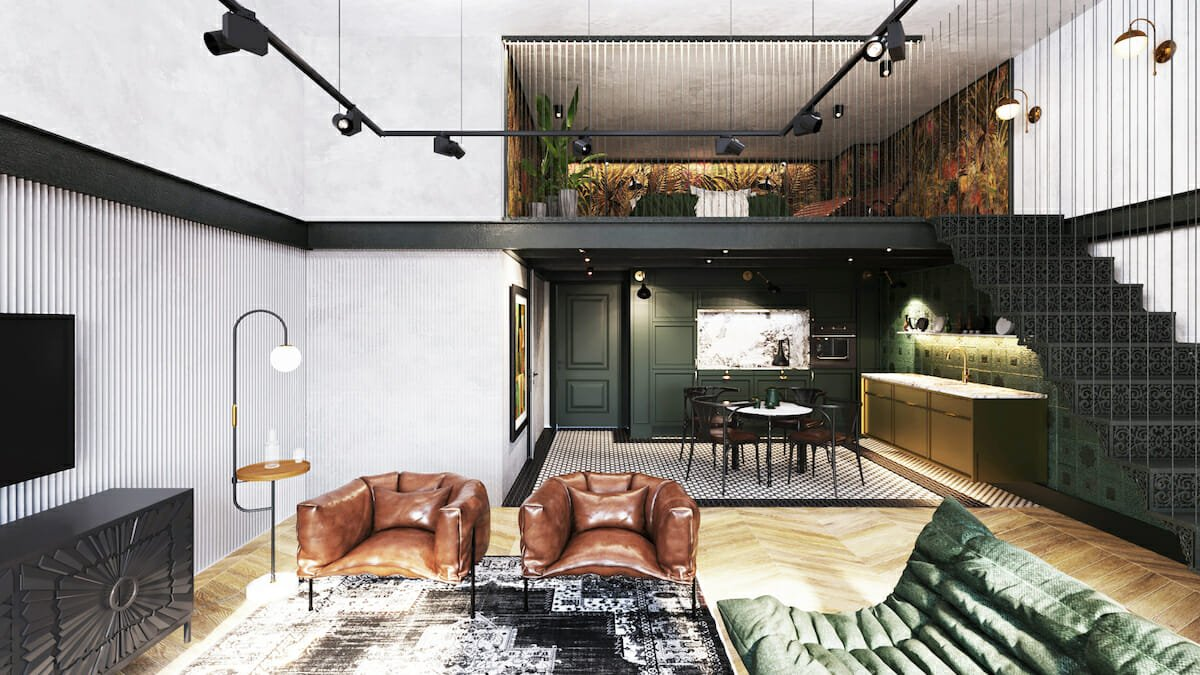 Small studio apartment decor with a mezzanine
