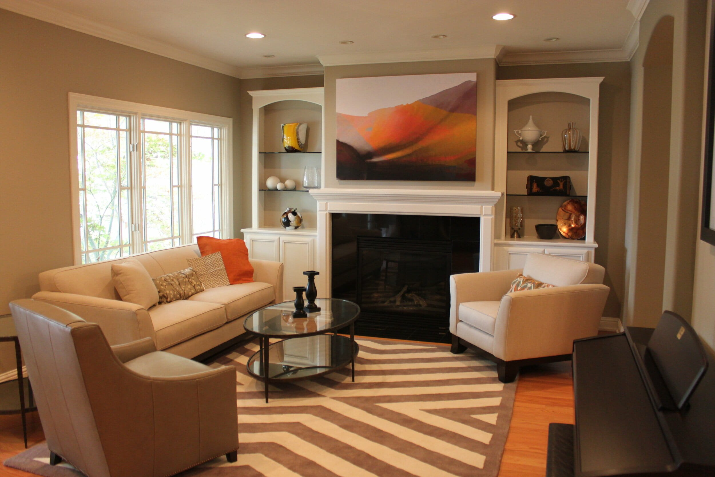 Traditional living room with fireplace by top silicon valley interior designers caitlin campbell
