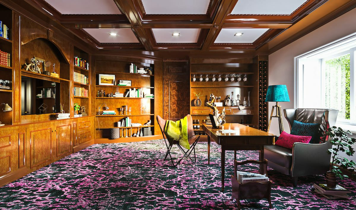 Traditional study room with pops of eclectic decor