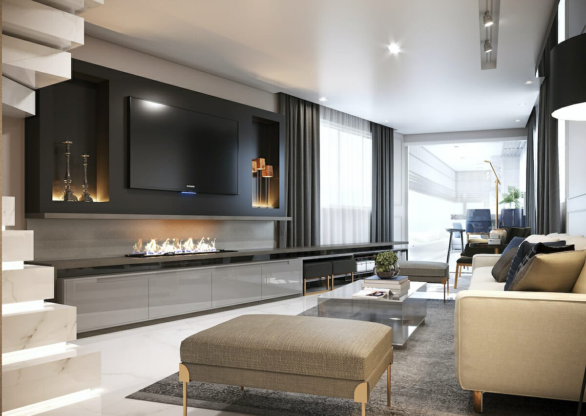 contemporary Long living room arrangements