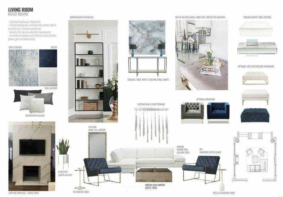 contemporary home interior design living room moodboard
