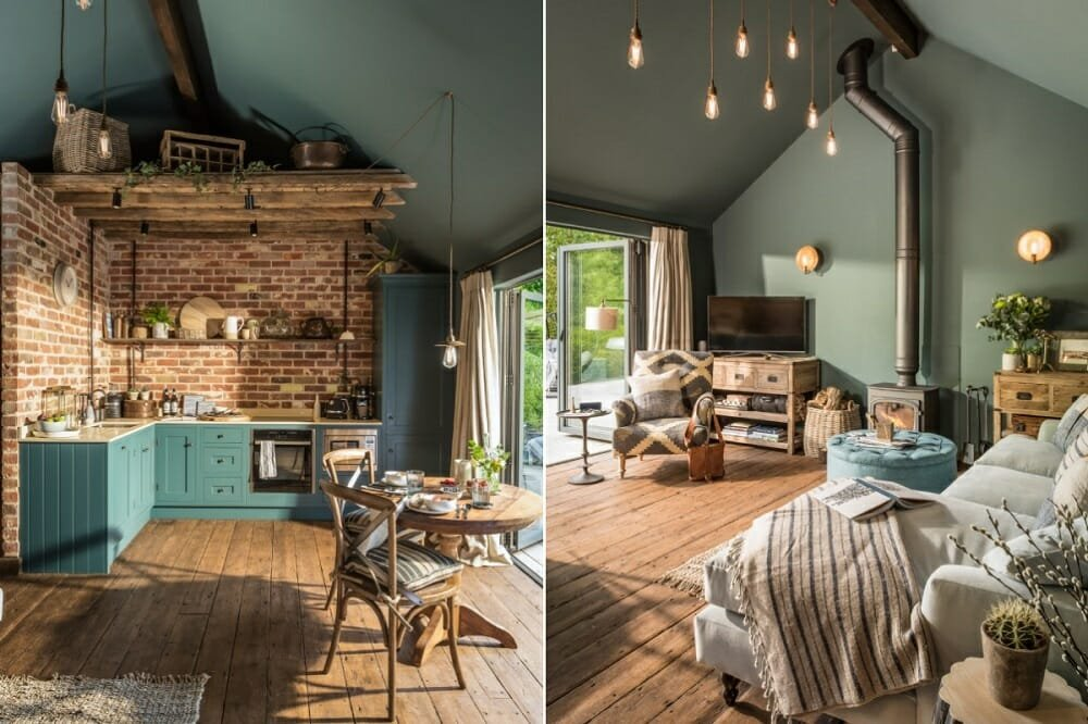 contemporary living room with industrial farmhouse decor - house of turquoise