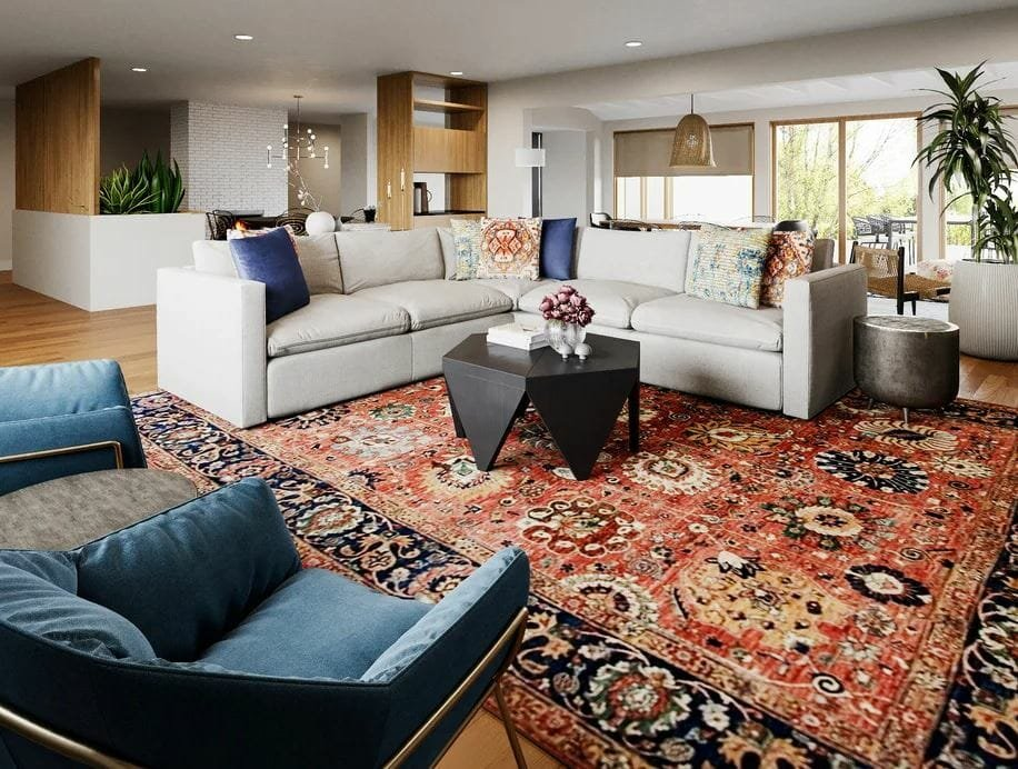 eclectic style living room for an open concept layout