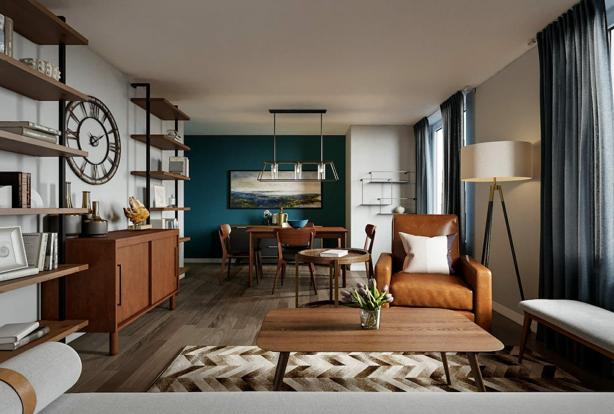 how to decorate a studio apartment in mid century modern