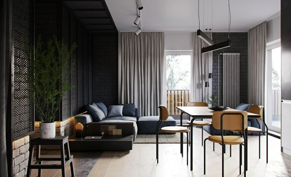 industrial modern decor in a small apartment - Form 8