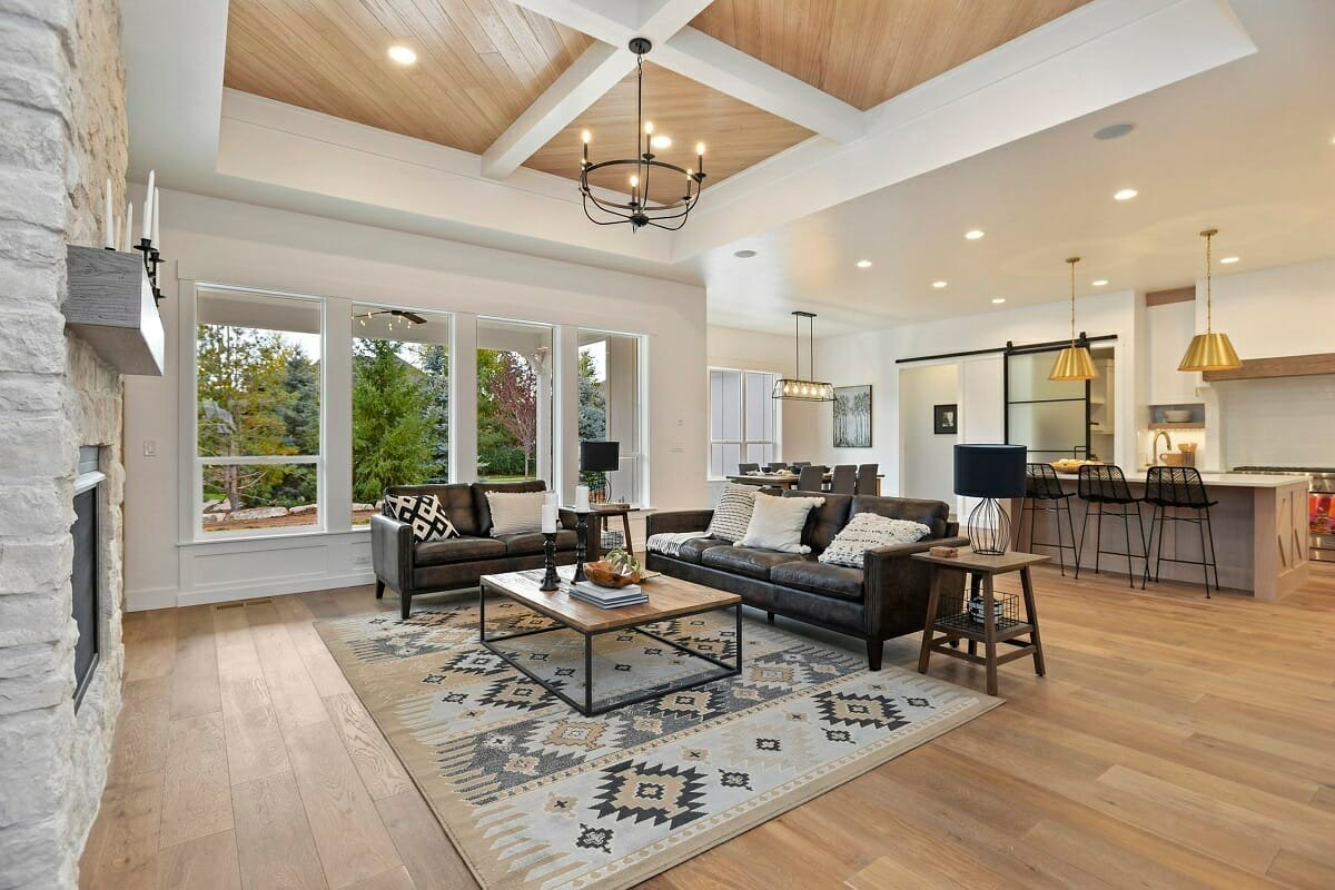 Modern Rustic Kitchen And Living Room, Rustic Living Room