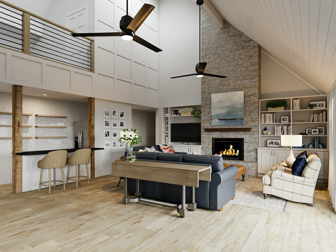 modern rustic living room with refined decor
