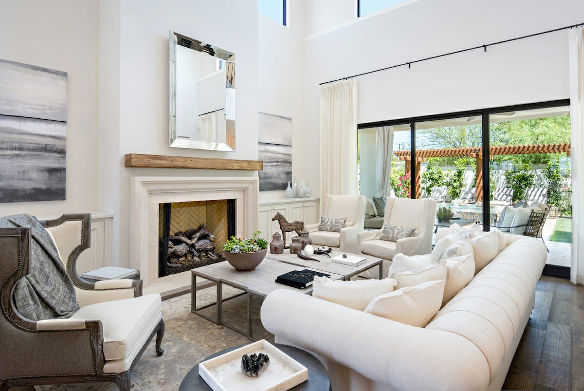 transitional living room arrangements with fireplace