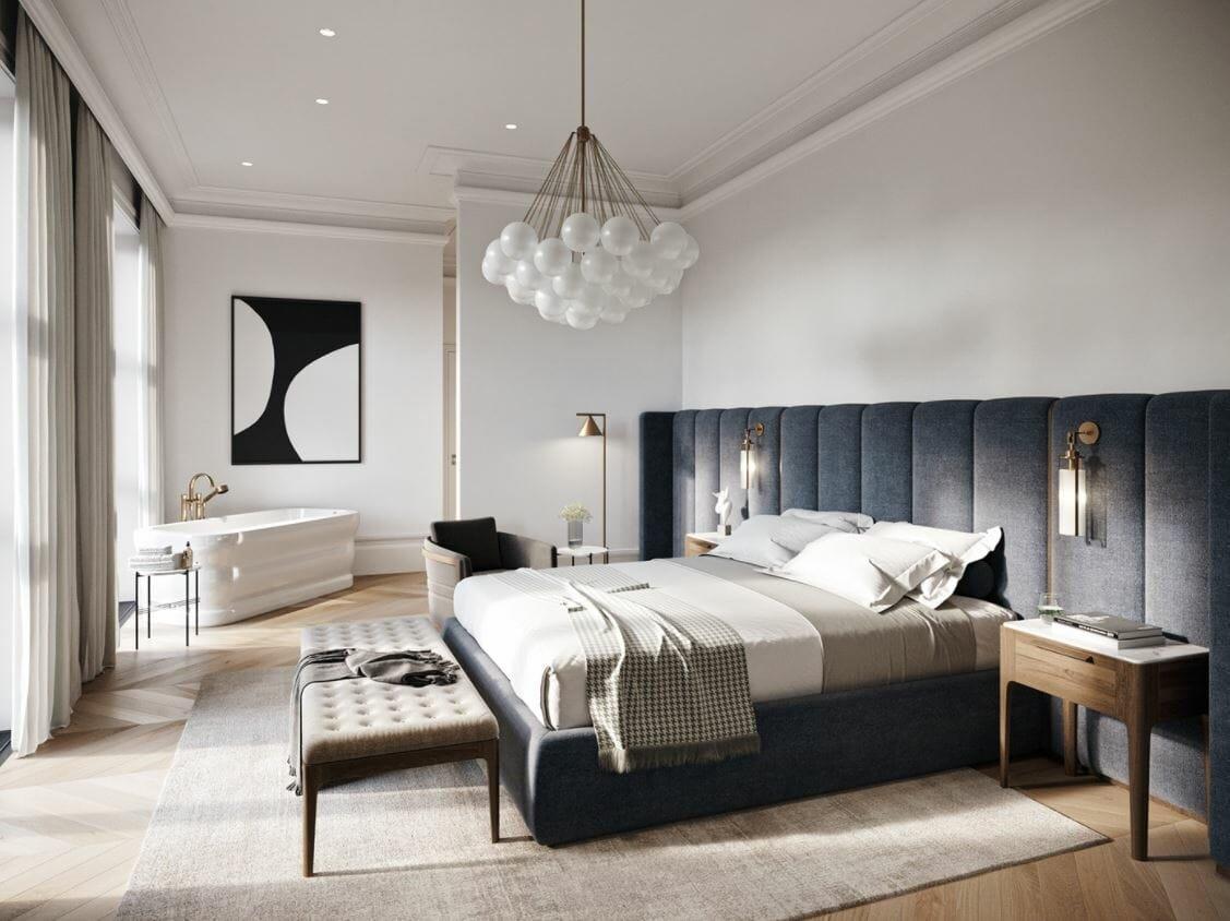 Bath in a contemporary bedroom of a boutique hotel interior design - Rehan A