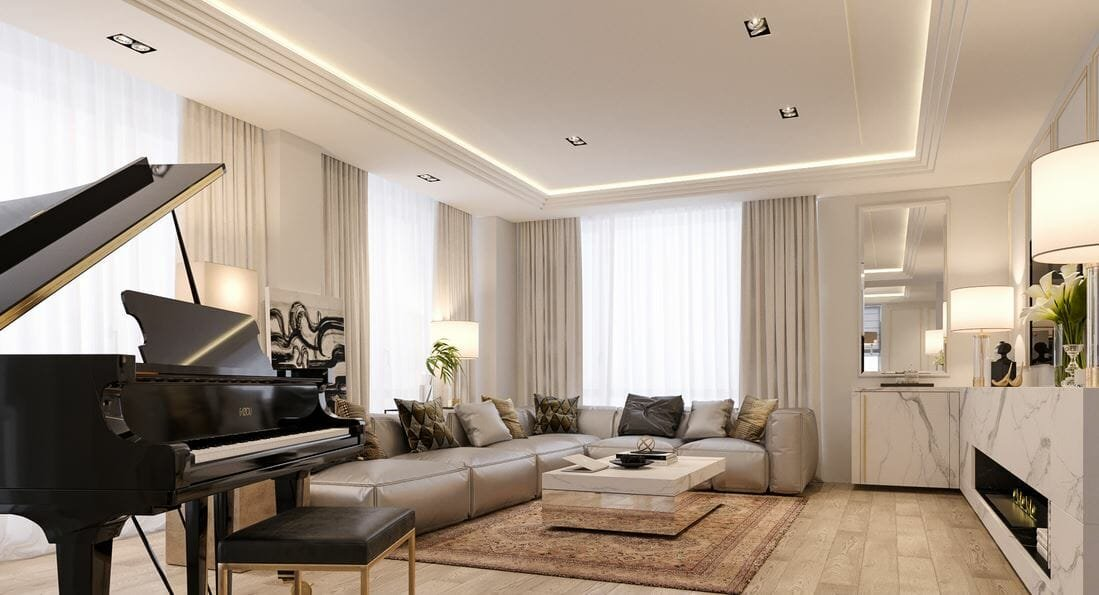 Beautiful ambient light in living room interior lighting design