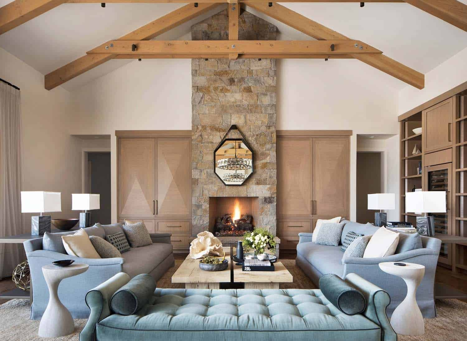 Beautiful rustic glam living room with rich textures