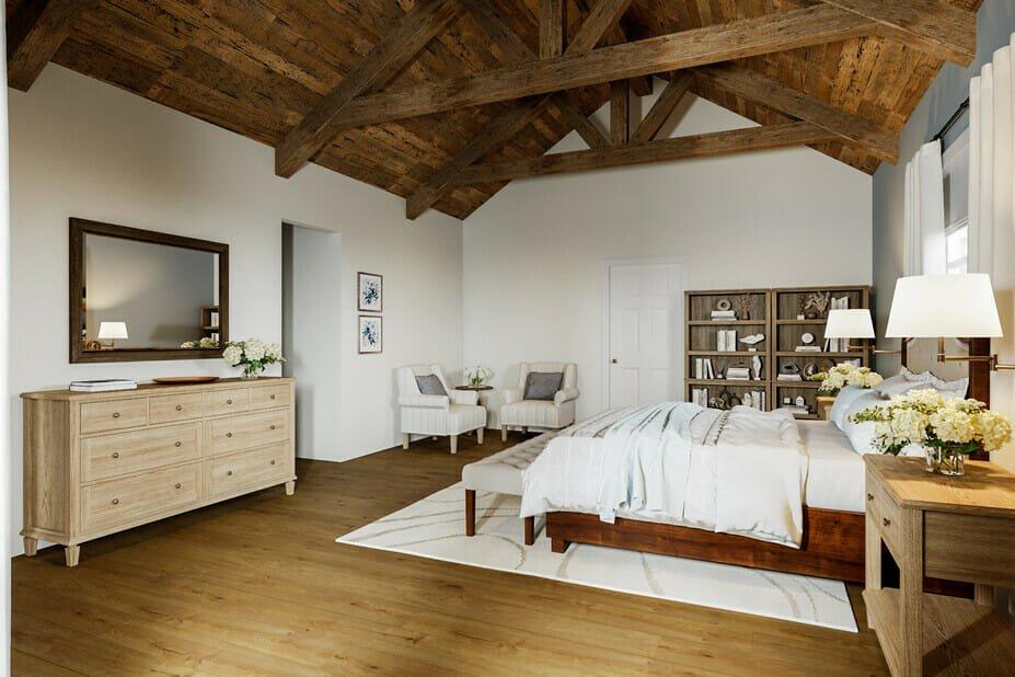 Beautiful rustic interior decor in bedroom