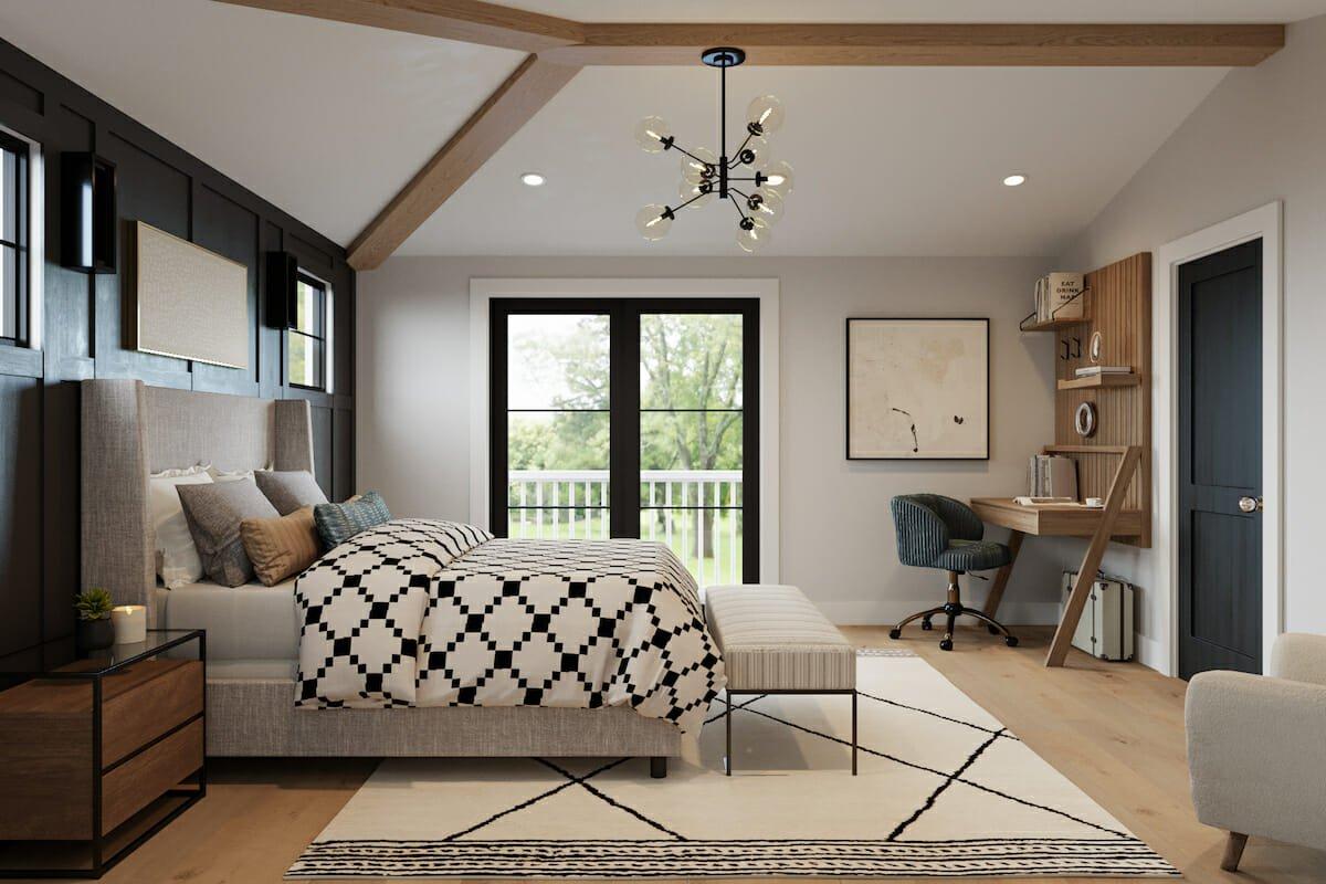 Bedroom finished in rustic farmhouse interior design