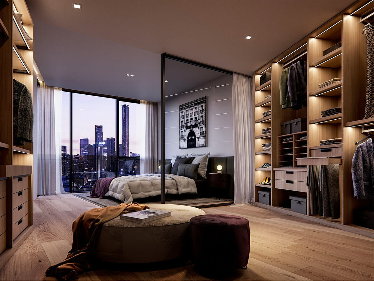 Chic wardrobe illimunation for bedroom lighting interior design