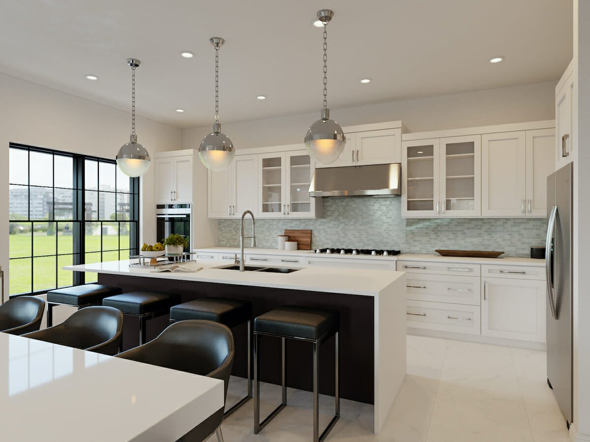 Contemporary open plan kitchen and dining by Casey H