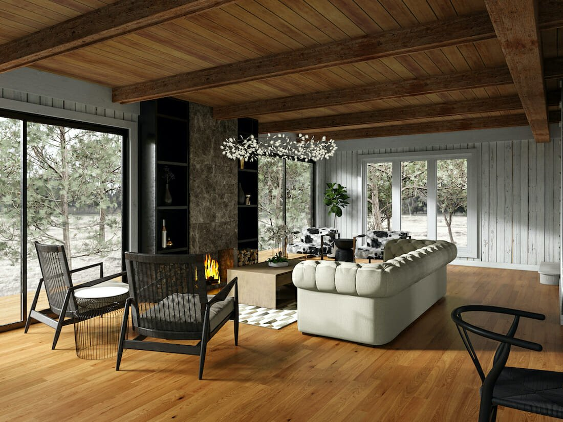 Contemporary rustic interior for a cabin in the woods
