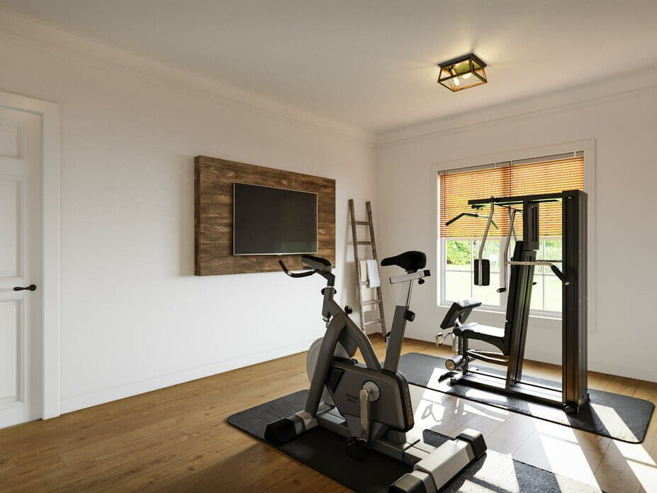 Home gym in a traditional and rustic home interior