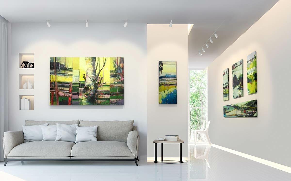 Lit up artworks in living room lighting interior design